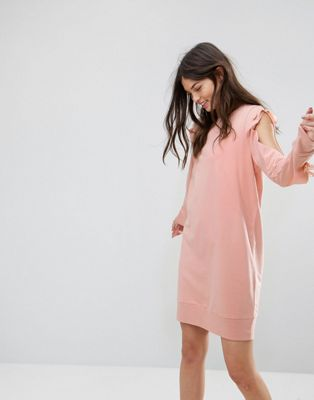 Image 1 of Noisy May Sweatshirt Dress with Open Sleeve Detail