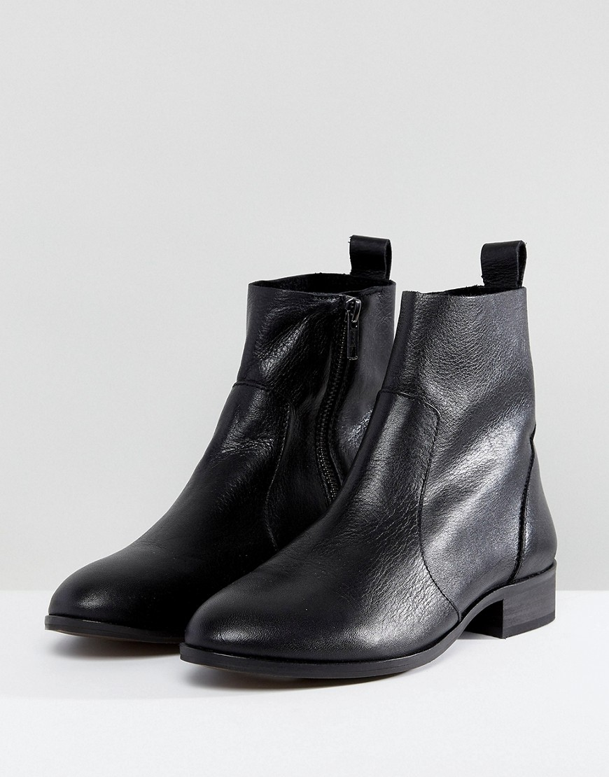 Sale alerts for  Office Ashleigh Black Leather Flat Ankle Boots - Covvet
