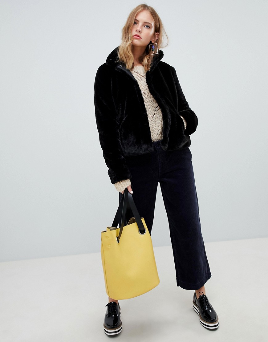 Only Faux Fur Cropped Coat by Only