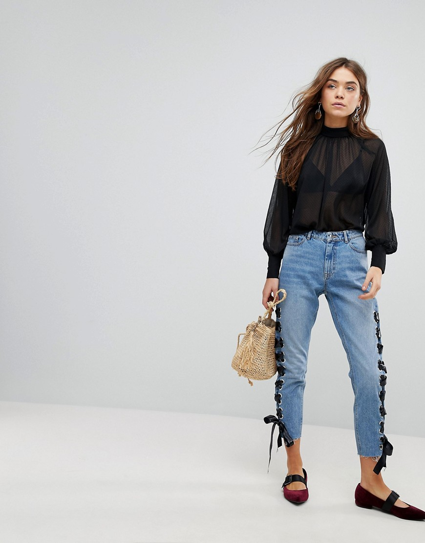 Only Lace Up Boyfriend Jeans by Only