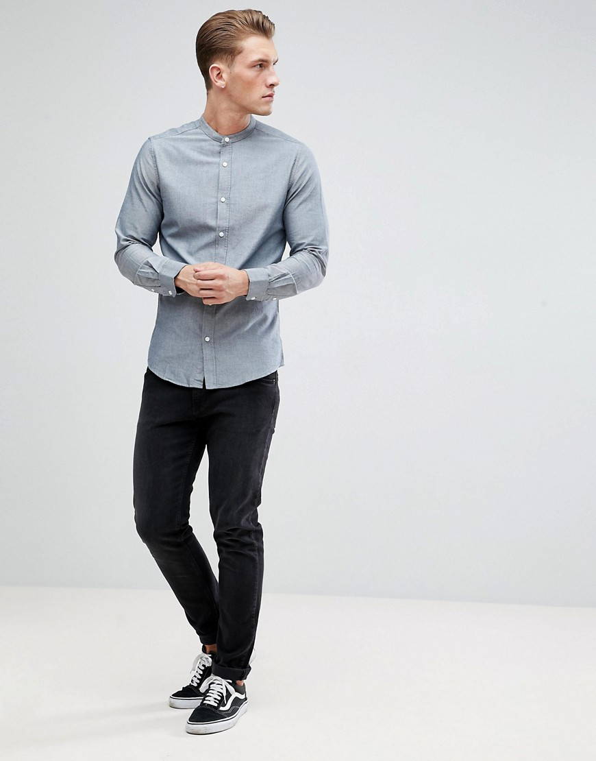 Only & Sons Slim Fit Oxford Shirt With Grandad Collar by Only & Sons
