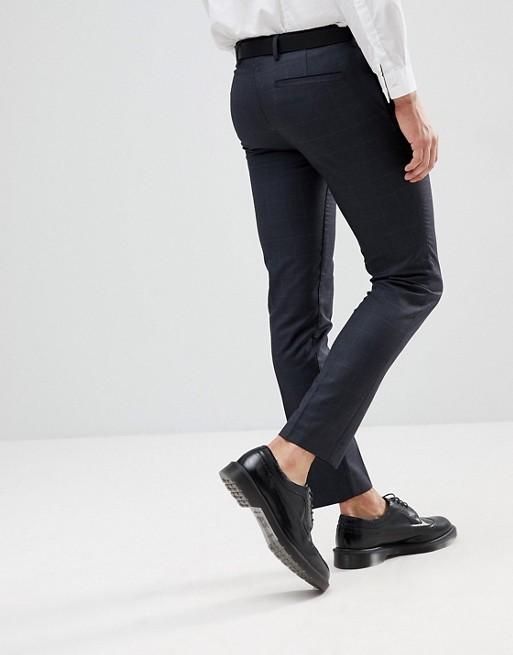 Pantalones de vestir ajustados con estampado de cuadros en gris oscuro de Burton Menswear