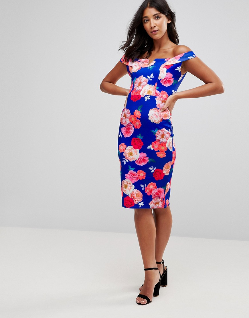 Bardot Bold Floral Pencil Dress - Georgia digital Paper Dolls