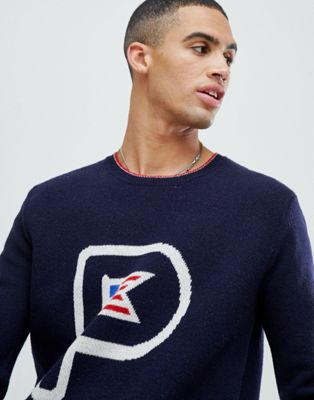 Image 1 of Penfield Flag Knit Crew Sweater Lambswool in Navy