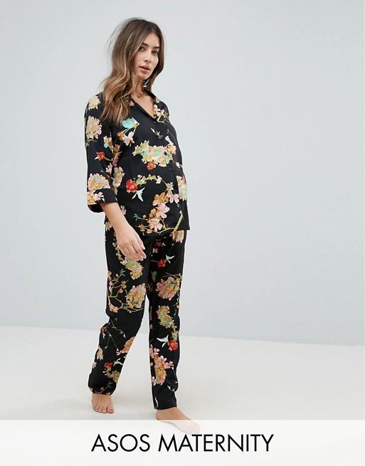 Pijama con camisa con estampado floral oscuro y pantalones de ASOS Maternity