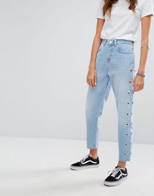 Image 1 of Pimkie Eyelet Detail Mom Jeans