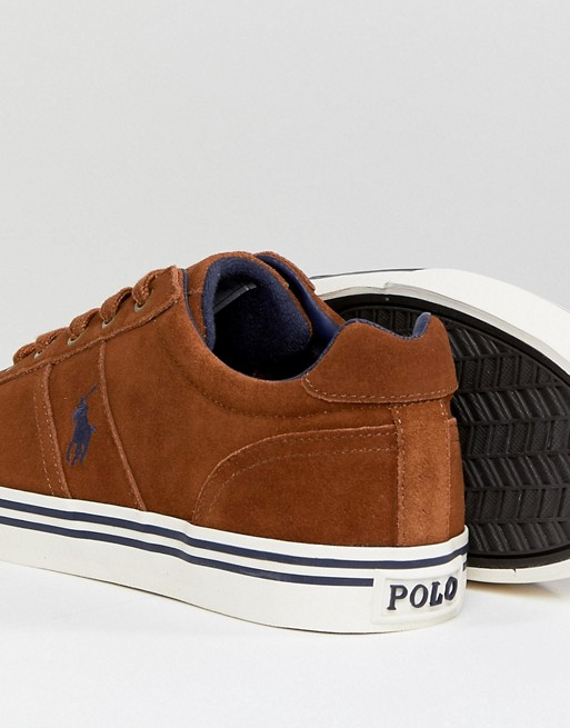Ralph in Polo Suede Trainers Lauren Logo Hanford Player Tan dqwx1wH4