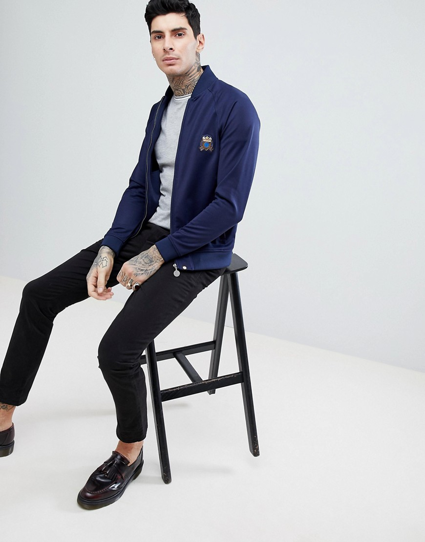 Seafire Zip Tricot Track Jacket In Navy - Navy Pretty Green