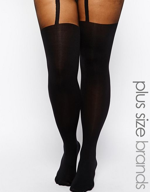 Image 1 of Pretty Polly Curves Mock Suspender Tights