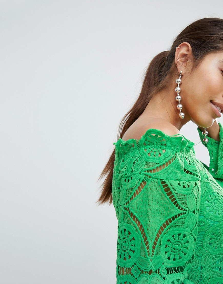 Lace Bell Sleeve Bardot Dress - Green Prettylittlething