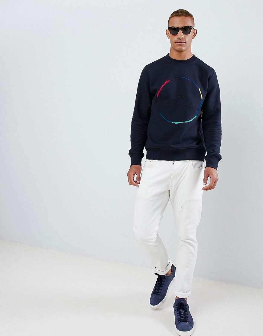 Ps Paul Smith Circle Embroidered Logo Crew Neck Sweat In Navy by Ps Paul Smith