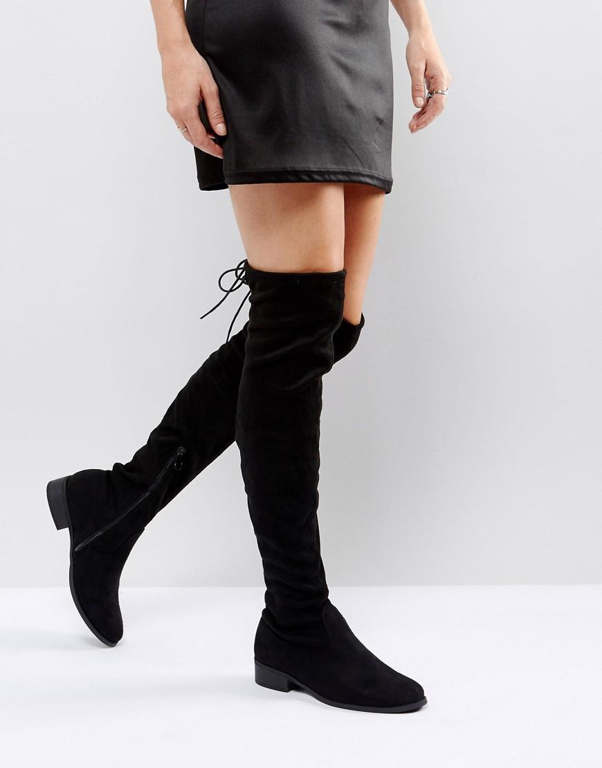 Black Flat Tie Back Over The Knee Boot - Black Public Desire