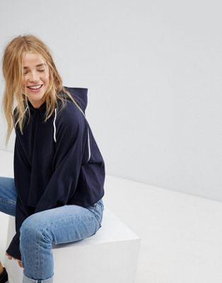 Image 1 of Pull&Bear Piped Crop Hoodie