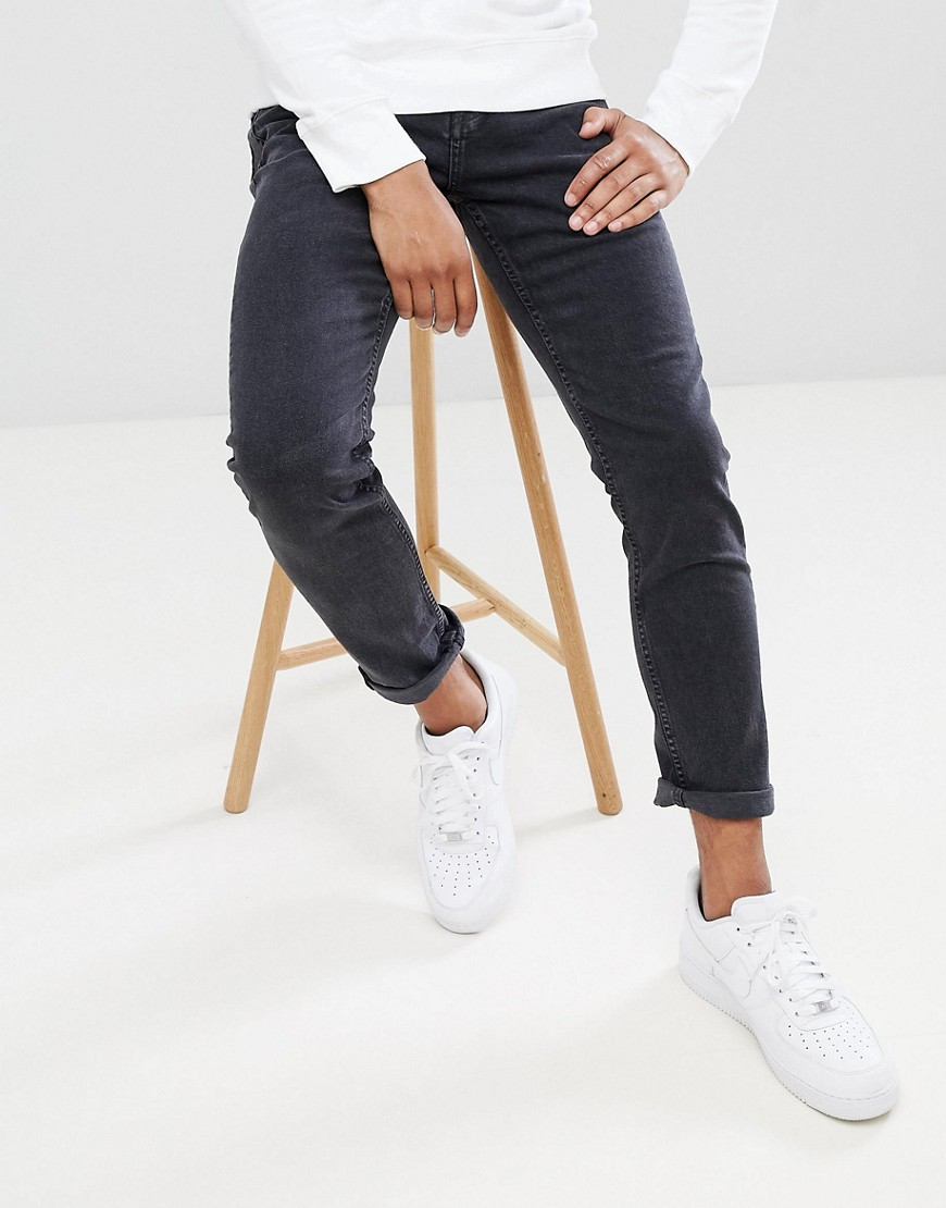 Pull&Bear Slim Jeans In Washed Black by Pull&Bear