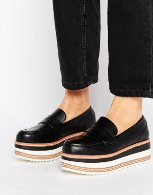 Image 1 of Pull&Bear Stripe Chunky Platform Loafer