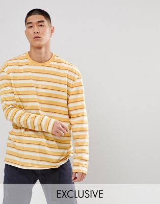 Image 1 of Puma Long Sleeve Striped Top In Yellow Exclusive To ASOS