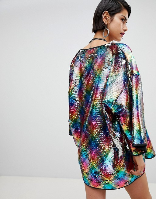 Ragyard Rainbow Sequin Kimono Co-Ord - Multi RAGYARD Perfect Clearance Countdown Package Sale Clearance 8Ym5ASAEV8