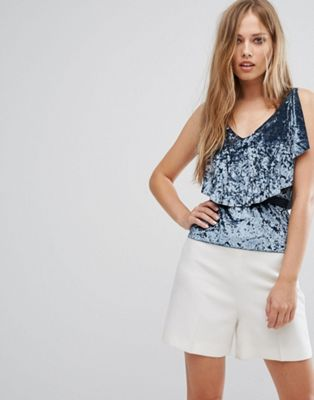 Image 1 of Rd & Koko Velvet Top With Frill Overlay & Tie Back