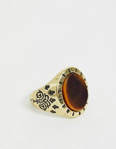 Reclaimed Vintage branded tigers eye semi precious stone ring in burnished gold exclusive to ASOS