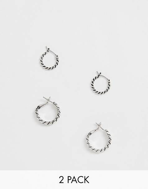 Reclaimed Vintage inspired 2 pack hoop earring in burnished silver exclusive at ASOS