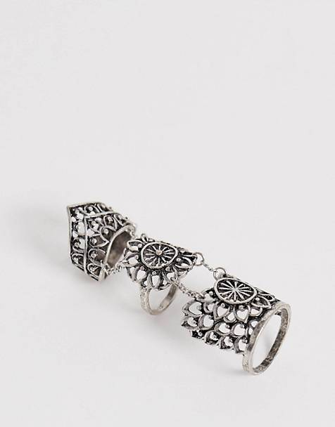 Reclaimed Vintage inspired articulated chunky ring in silver exclusive to ASOS