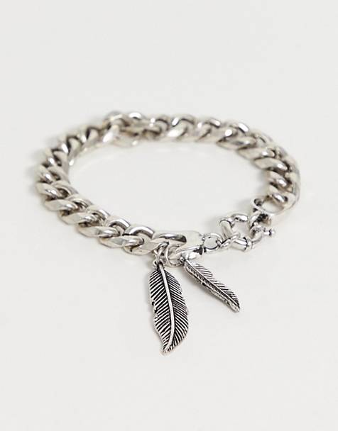 Reclaimed Vintage inspired chain bracelet with feather detail exclusive at ASOS