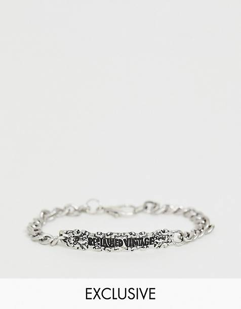 Reclaimed Vintage inspired chain bracelet with Reclaimed Vintage ID tag in silver exclusive to ASOS