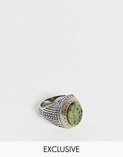 Reclaimed Vintage inspired chunky signet ring with mixed metal detail and semi precious in silver exclusive to ASOS
