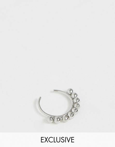 Reclaimed Vintage inspired detailed surgical steel nose peircing in silver exclusive to ASOS