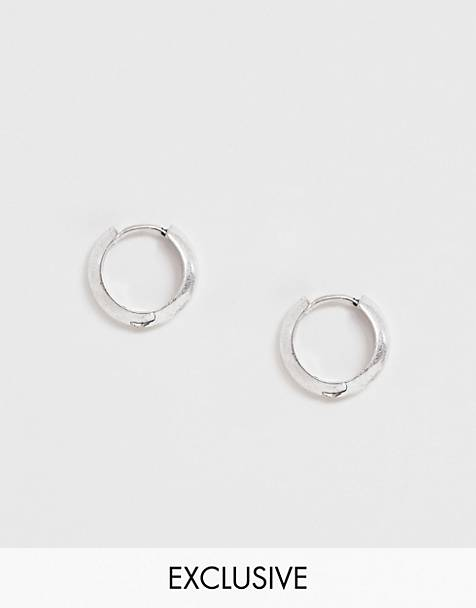 Reclaimed Vintage Inspired hoops earrings in burnished silver tone exclusive at ASOS
