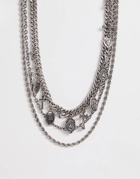 Reclaimed Vintage inspired layered chain necklace in silver exclusive at ASOS
