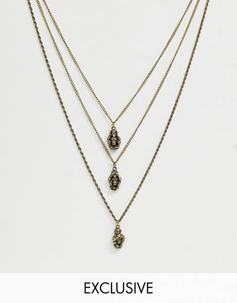 Reclaimed Vintage inspired layered neckchain with three monkeys in burnished gold exclusive to ASOS