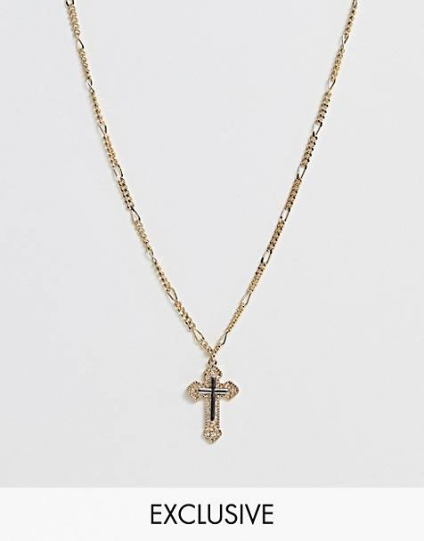 Reclaimed Vintage inspired necklace in bi-plate with cross detail exclusive at ASOS
