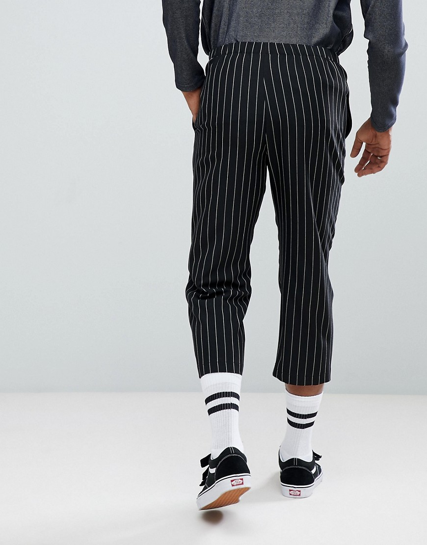 Inspired Relaxed Cropped Trouser In Stripe - Black Reclaimed Vintage