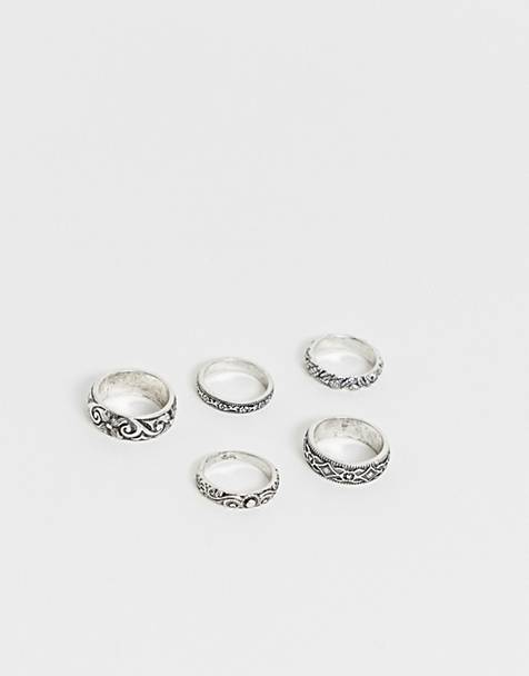 Reclaimed Vintage inspired ring pack with emboss detail in silver exclusive to ASOS