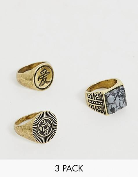 Reclaimed Vintage inspired ring pack with semi precious stone detail in gold exclusive to ASOS
