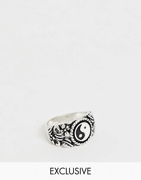 Reclaimed Vintage inspired ring with emboss and Yin Yang detail in silver  tone exclusive to ASOS