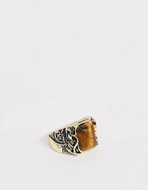 Reclaimed Vintage inspired ring with emboss detail and semi precious stone detail in gold tone exclusive to ASOS