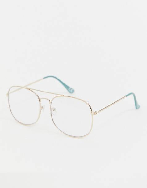 Reclaimed Vintage Inspired square double brow glasses in gold exclusive to ASOS