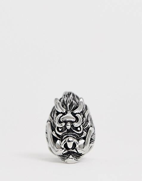 Reclaimed Vintage inspired stainless steel ring with oversized dragon detail exclusive to ASOS