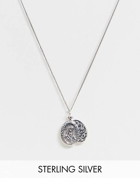 Reclaimed Vintage inspired sterling silver necklace with religious style pendant exclusive at ASOS