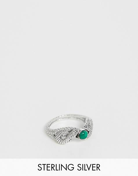 Reclaimed Vintage inspired sterling silver ring with snake design and stone detail in exclusive to ASOS