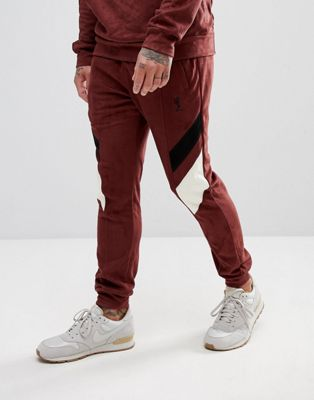 Image 1 of Religion Tapered Fit Jogger In Suedette With Contrast Panels
