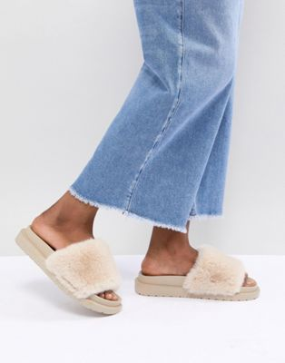 Image 1 of River Island Faux Fur Sliders