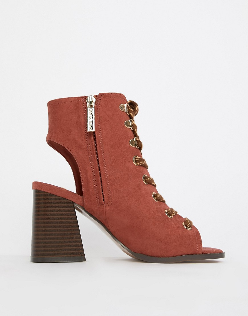 River Island Lace Up Heeled Shoe Boots In Rust by River Island