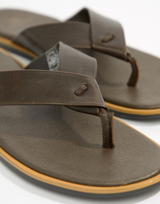 River Island Leather Flip Flop In Brown S236Dml5
