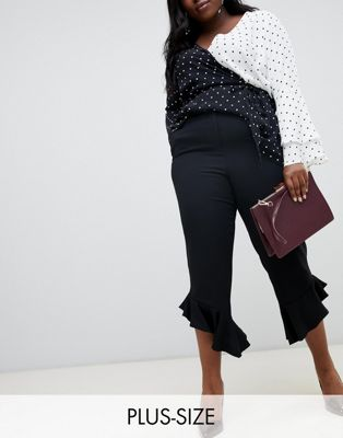 Image 1 of River Island Plus Frill Hem Trousers