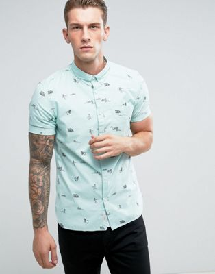 Image 1 of River Island Slim Fit Oxford Shirt With Beach Print In Green