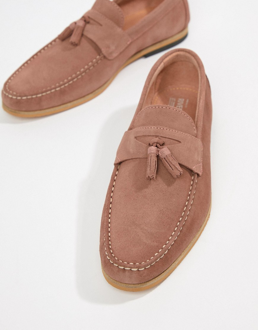 River Island Suede Loafer With Tassels In Pink by River Island