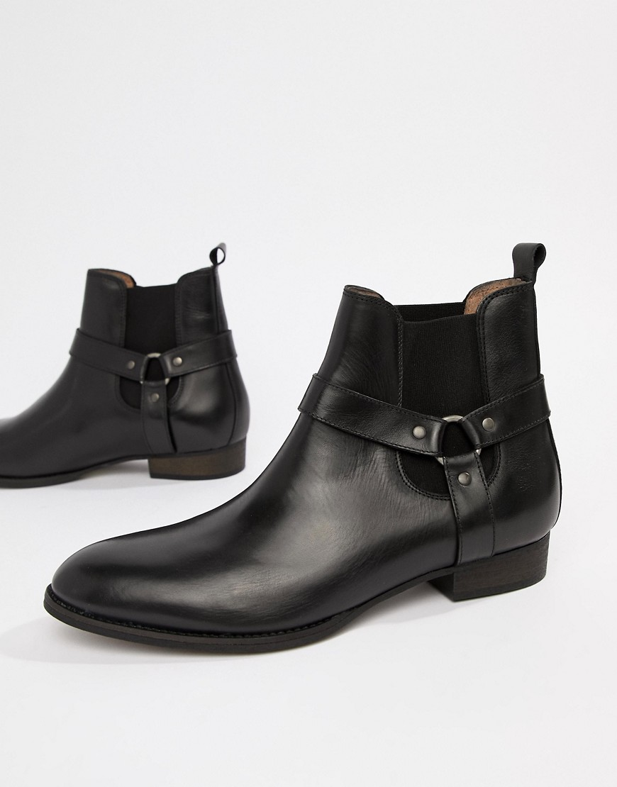 River Island Western Chelsea Boots With Stacked Heel In Black by River Island
